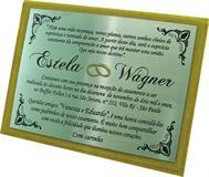 Convite de casamento em aço inox com gravação em baixo relevo e pintura automotiva com detalhe em tinta dourada. (consulte por telefone outras cores de porta-placa)