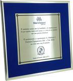 Placa de homenagem com reconhecimento da importância da parceria entre as empresas.