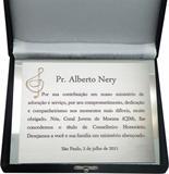 Placa de homenagem concedendo o título de conselheiro honorário do Coral Jovem de Moema.