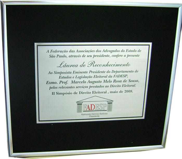 Placas de homenagem empresarial