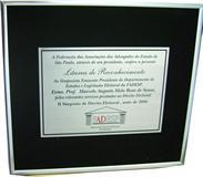 Placa de homenagem entregue ao homenageado pelos serviços prestados ao Direito Eleitoral.