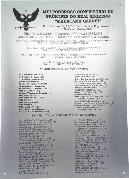Placa de inauguração de consistório de maçonaria em Andradina