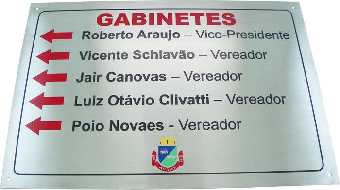 Placa de sinalização com setas indicativas para os gabinetes da prefeitura.