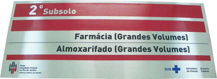 Placa de sinalização da Rede Hospitalar Federal no Rio de Janeiro do SUS.
