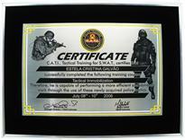 Réplica de certificado de formação no curso de Imobilização Tática da S.W.A.T.
