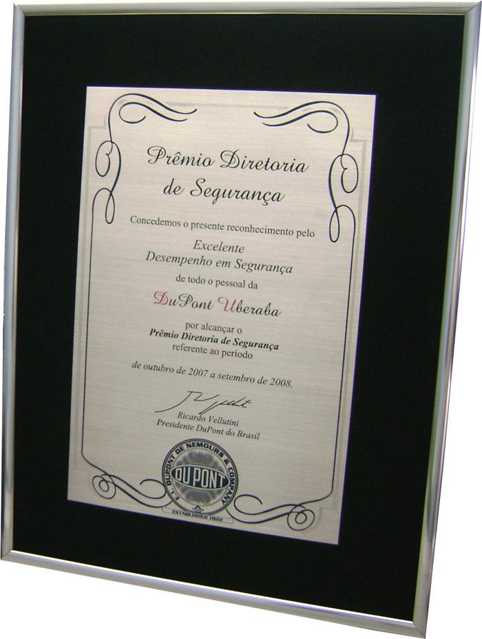 Réplica de certificado concedido pelo excelente desempenho em segurança alcançando o Prêmio Diretoria de Segurança.