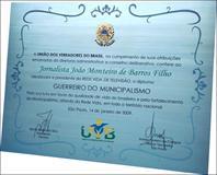 Réplica de diploma feito para homenagear jornalista por sua luta em favor da qualidade de vida do brasileiro. Placa com brasão de latão fundido sobreposto. (consulte valor do brasão por telefone)
