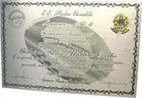 Réplica de diploma de conclusão de Ensino Fundamental com marca d'água reticulada e brasão de latão fundido (consulte preço do brasão por telefone).