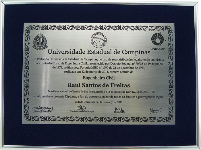 Réplica de diploma de Engenheiro Civil da Unicamp, formando de 2011.