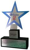 Troféu estrela 5 pontas com placas gravadas medindo 14x4cm, 4x4cm e área de gravação na estrela medindo 5,7x5,4cm