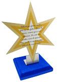 Troféu estrela 6 pontas com área de gravação na estrela medindo 6,5x5,5cm